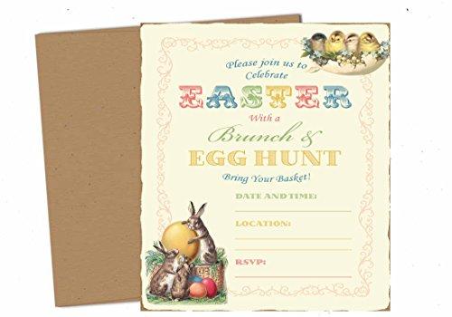Silly Goose Gifts Vintage Easter Brunch Egg Hunt Party Supply Invitation with Envelopes (Set of 12) -