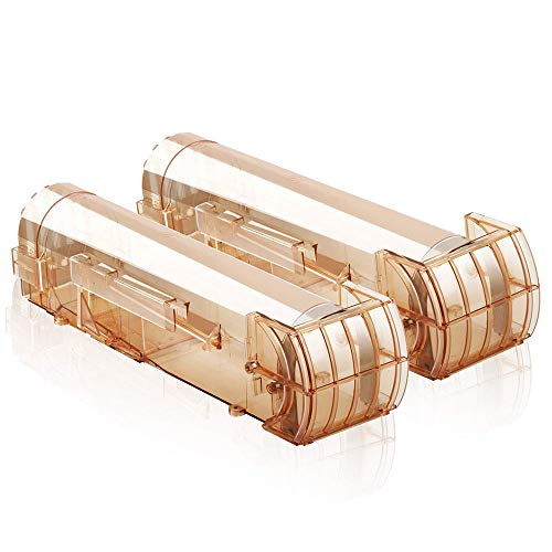 - 2 PCS Reusable Humane Mouse Mice Rodent Trap, Pinacis Catcher Cage Live Catch and Release, No Kill No Pain, Safe for Kids Pet (Brown)