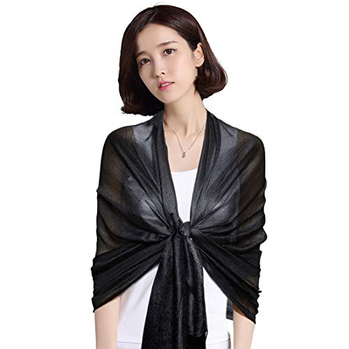 QBSM Womens Black Solid Bridal Wedding Formal Evening Dresses Scarf Shawl Wrap