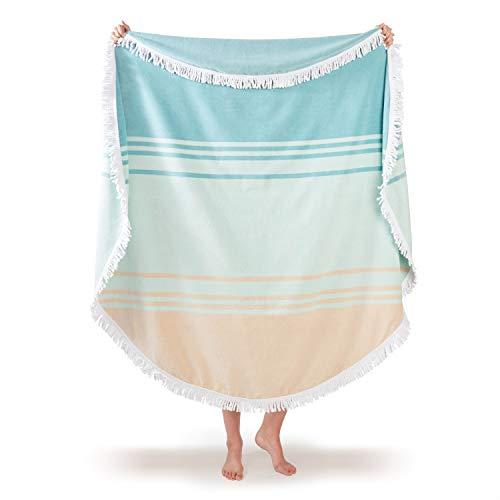 Luxury Thick Round Cabana Beach Towel by Laguna Beach Textile Co | Sea Glass Sunrise | 5 Foot Diameter | Woven Jacquard for Soft, Fade Proof Beach & Pool Use