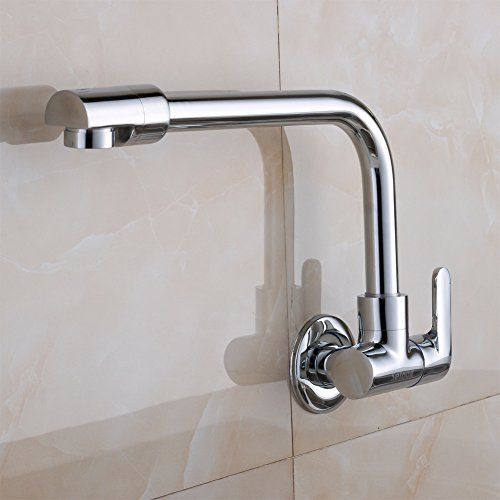Copper extended wall-mounted tapsSingle cold water faucet in the kitchenLaundry pool taps the MOP pool