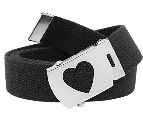 Girl's School Uniform Silver Slider Heart Belt Buckle with Canvas Web Belt Small Black