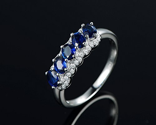 Solid 18k white gold promise ring,0.18ct SI-H Diamond engagement ring,1.1ct oval blue Sapphire,Prong - Si 0.18 Ct Diamond