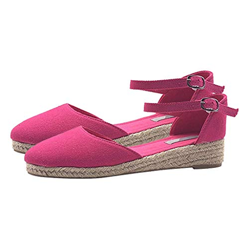 ASOBIMONO Women's Sandal Ankle Strap Flatform Espadrille Closed Toe Wedges Braided Sandals Hot Pink