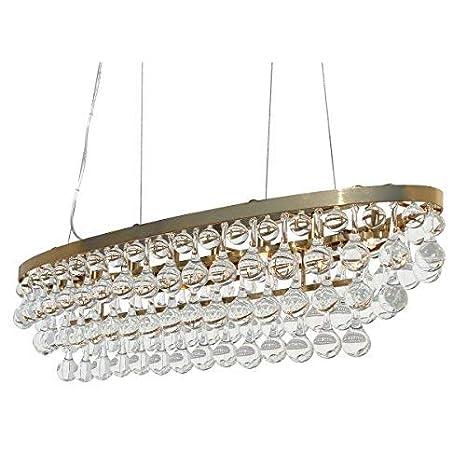Celeste Oval Glass Drop Crystal Chandelier, Brass Finish