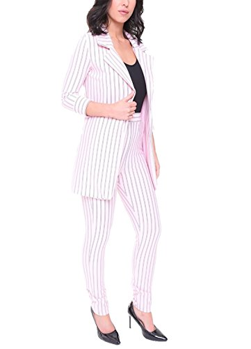 Ladies Pinstripe Blazer High Waist Tailored Trouser Womens 2 Piece Co-Ord Suit Pink Large