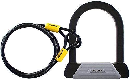 SIGTUNA Bike lock - 16mm Heavy Duty Bicycle Lock with U Lock Shackle + 1800mm braided Flex Cable Lock