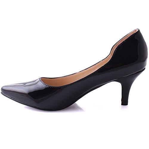 Unze Women Zoie Pointed Toe Slip On Dress Ladies Glossy Heel Evening Stilleto Heel Carnival Courts UK Size 3-8 Black YlHu2
