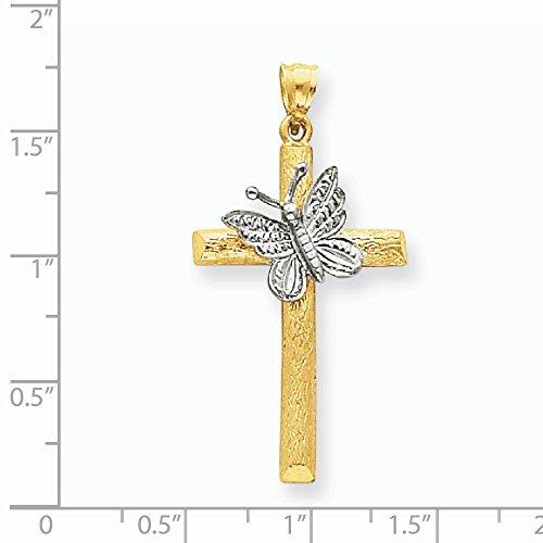 Papillon 14ct Pendentif Croix avec 2Tonalités-21,3x 41,9mm de diamètre-JewelryWeb