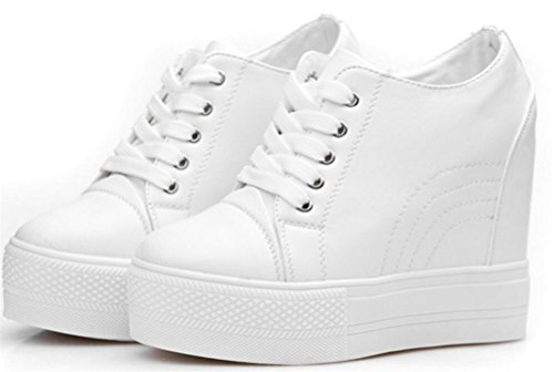 Women's Casual High Top Hidden Heel Wedges Platform Fashion Sneakers (5.5, White)