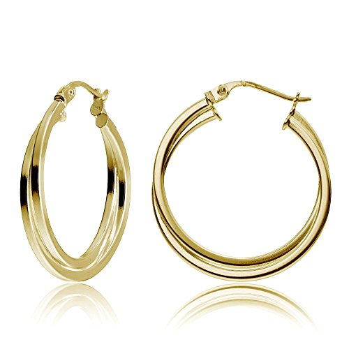 - Yellow Gold Flash Sterling Silver Intertwining Square-Tube Polished Hoop Earrings, 25mm