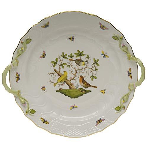 Herend Rothschild Bird Green Porcelain Chop Plate With Handles