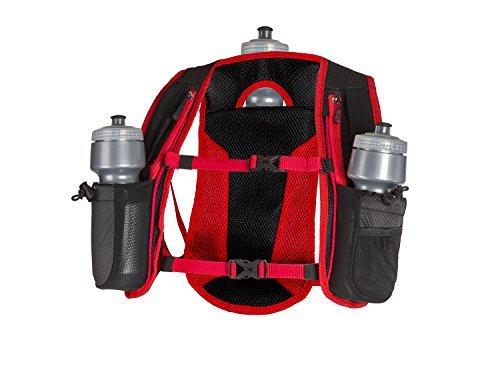 SLS3 Running Hydration Vest, Backpack, 3 Bottles, Adjustable Strap System - Red (Vest Bottle)