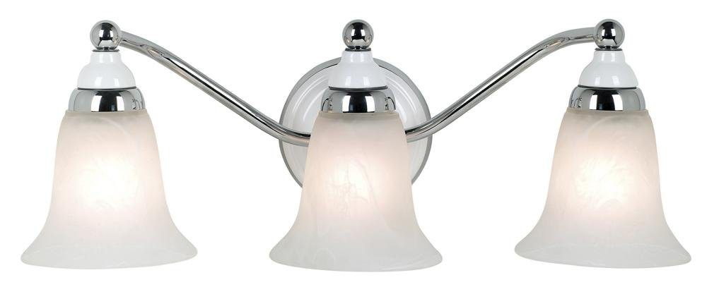 "Chrome Bath Lighting Fixtures: Derby Collection 20 3/4"" Wide Chrome Bathroom Light"