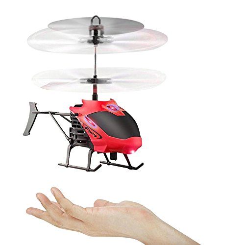 Leegor Mini RC Infraed Induction Helicopter Aircraft Flashing Light Electric Flying Toys For Kids USB Charged Airplanes Birthday Present Christmas Gift (Red ) Christmas Present Ideas 13 Year Old Boy
