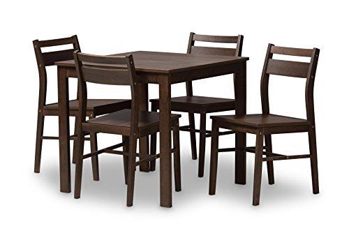 Baxton Studio 424-7937-AMZ Sabine Modern and Contemporary Walnut-Finished 5-Piece Dining Set, Espresso Brown