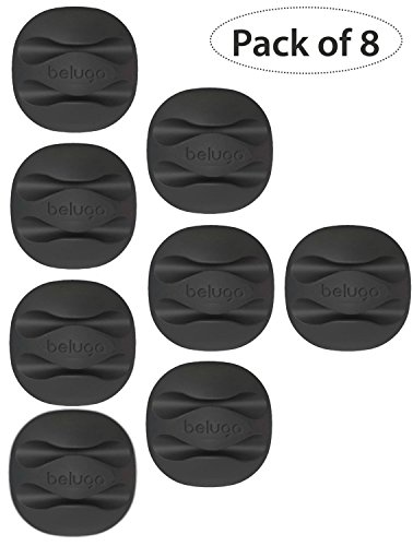 (Pack of 8) BELUGA Cable Clips, Cord Keeper, Cord Management System with 3M Adhesive, Desktop Cable Organizer & Computer, Electrical, Charging or Mouse Cord Holder (Black)