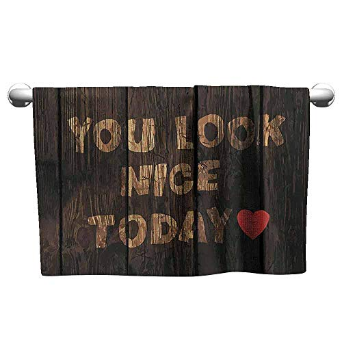 Woven Collection Platinum Wood - DUCKIL Large Hand Towels Quotes Decor Collection Phrase On Wooden Planks You Look Nice Today Heart Inspiring Happiness Print Fancy Bath Sheet 35 x 12 inch Wood Brown Red
