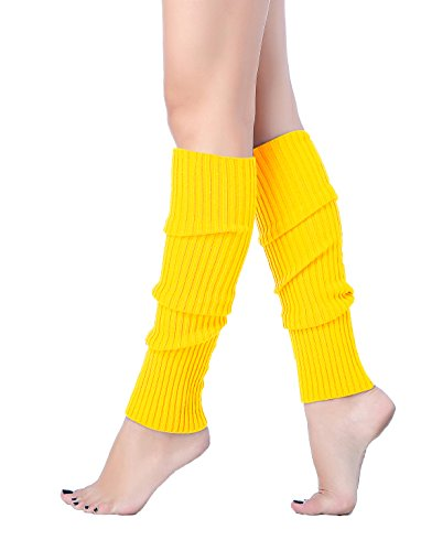 (V28 Women Juniors 80s Eighty's Ribbed Leg Warmers for Party Sports (Yellow))