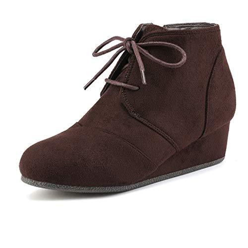 DREAM PAIRS Toddler Tomson-K Brown Girl's Low Wedge Heel Booties Shoes - 9 M US Toddler]()