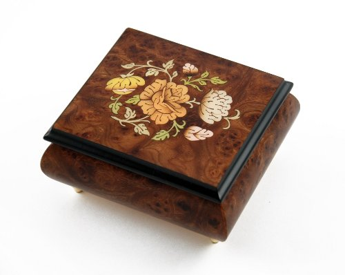 Music Themed Christmas Trees - Adorable Music Box with Floral Themed Inlay - O Christmas Tree (O' Tannenbaum) - SWISS