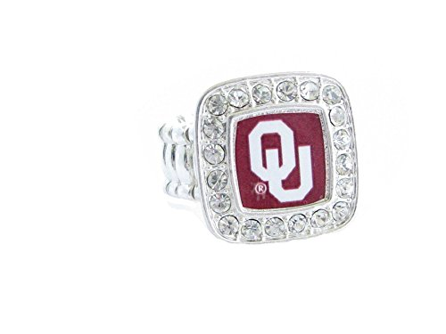 Oklahoma Sooners OU Clear Crystals Square Fashion Stretch Ring by Sports Accessory Store