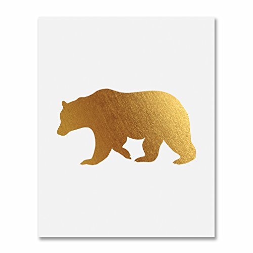 (Bear Gold Foil Print Poster Art Woodland Forest Animal Nursery Unframed Metallic Gold Decor 8 inches x 10 inches E31)