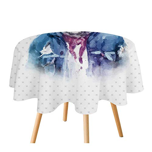 - C COABALLA Quirky Decor Polyester Round Tablecloth,Intellectual Tiger with Scarf Torn Denim Jacket and Glasses Watercolor Artwork Decorative for Home Restaurant,70.8