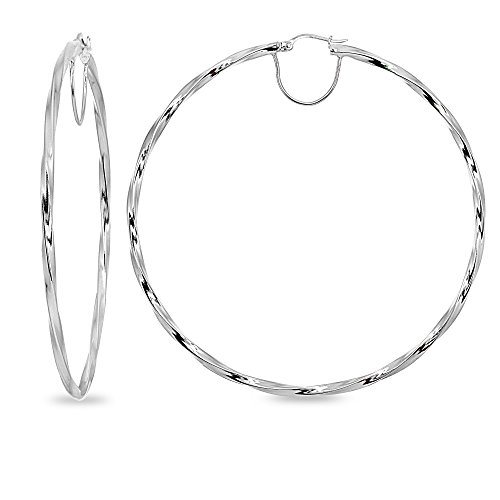 - Sterling Silver 2x70mm Twist Round Extra Large Hoop Earrings for Women Girls, 2 3/4 Inches