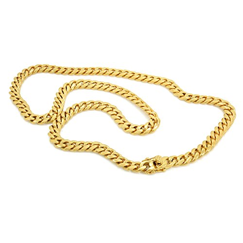 Link Bling - Bling Bling NY Solid 14k Yellow Gold Finish Stainless Steel 8mm Thick Miami Cuban Link Chain Box Clasp Lock (Chain 24'')