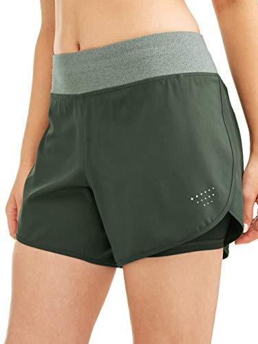 Avia Women's Core Active 5-inch 2fer Stretch Woven Running Performance Shorts (Deep Forest Green, XL, 16-18)