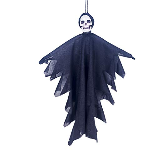 Fine Halloween Haunters Animated Hanging Forward Ghost Skeleton Bride Skull Reaper Prop Decoration,Haunted House Graveyard Party Patch Prop Decoration (Black)