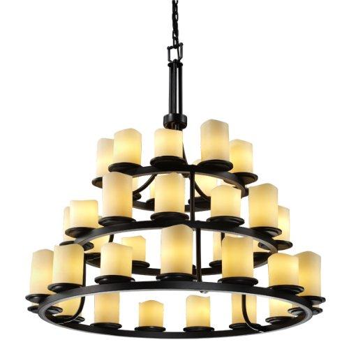 - Justice Design Group Lighting CNDL-8712-14-CREM-DBRZ Candlearia Collection Dakota 36-Light 3-Tier Ring Chandelier, 44