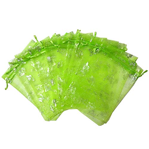 UHANGETH 100pcs Organza Bag Gift Party Wedding Favor Bags Jewelry Pouches (5x7 inch, Silver Butterfly Apple Green) ()