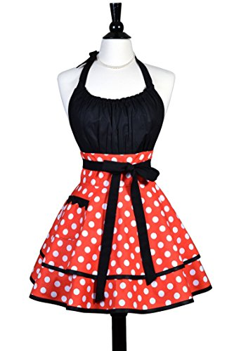 Lucy Womens Sexy Halloween Costume Apron in Orange Polka Dots with Black - Personalize (Creative Handmade Halloween Costumes)