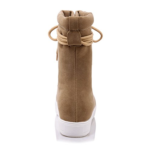 Booties Womens Lace Sole Retro Thick Fur Boots Black Winter AIWEIYi Beige up Warm Style Ankle FxOw4andnq