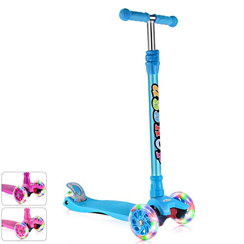 GOOGO Kick Scooter for Kids & Toddlers Girls or Boys, 4 Adjustable Height, Extra-Wide Deck, Lean to Steer with PU Light Up Wheels for Children from 3 to 14 Year Old,Blue -