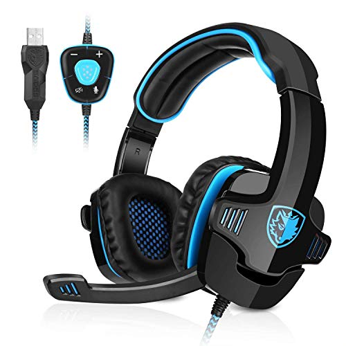 🥇 GHB Sades Auriculares Gaming Cascos con Microfono SA-901 Sonido Envolvente 7.1 con USB para PC Ordenador Portátil Azul y Negro