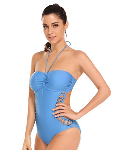 9b9134c4d2272 Ekouaer Womens Strappy One Piece Swimsuit Sexy Hollow Out Monokini Bathing  Suit