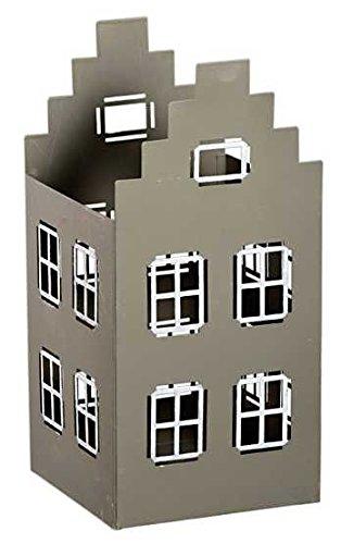 Gut Condecoro Metall Windlicht Haus Offen In Grau/weiß Lichthaus  Teelichthalter, Farbe:grau