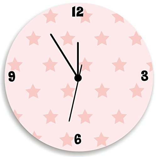 Stars Wall Clock for Girls Bedroom, Pink Back and Stars Pattern Wall Clock, Girls Bedroom Wall Hanging with Stars
