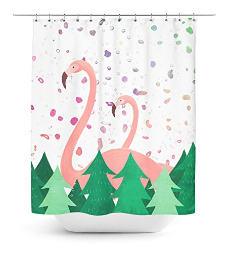 Timingila White Shower Curtains Flamingo and Pine Tree Bird Bath Shower Curtain with Roller Rings Hook 1 Pc - 60 x 75