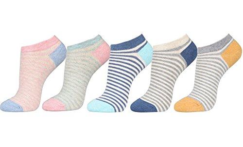 Women's No Show Low Cut Fasion Casual Socks (One Size fit : Regular, Melange Stripe 5Pair)