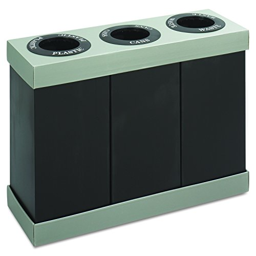 Safco Products at-Your-Disposal Triple Recycling Center 9798BL, Black, Impact and Water Resistant, Three 28 Gallon Bins