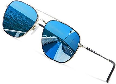 Avoalre Gafas de Sol Aviador Gafas Polarizadas Hombre Azul de Moda de Estilo Espejo Cuadrada UV400 Marco Inoxidable Lente TAC PL Super Cómodas