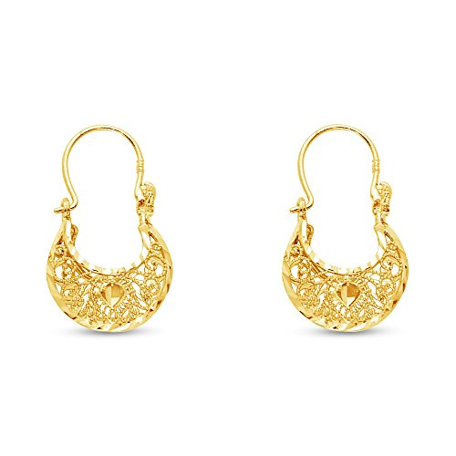 14k Yellow Gold Fancy Filigree Hoop Earrings (12 X 21mm)