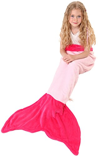 Mermaid Tail Blanket - Soft and Warm Polar Fleece Fabric Blanket by Cuddly Blankets for Kids and Teens (Ages 3-12) (Hot Pink and Light Pink)