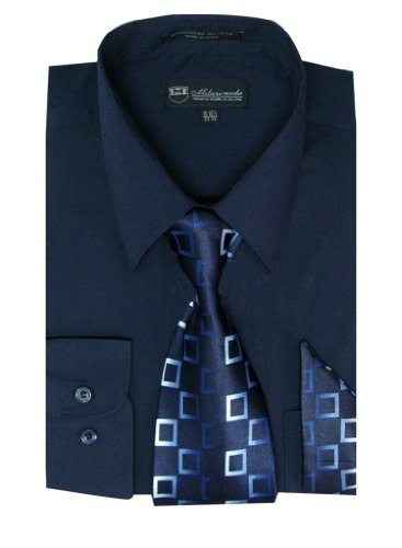 (Milano Moda Men's Long Sleeve Dress Shirt With Matching Tie And Handkie SG21A-Navy-16-16 1/2-34-35)