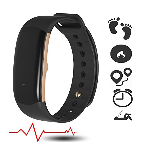 Fitness Activity Tracker 24 7 Heart Rate Monitor with Blood Pressure - Armband Waterproof Pulse Meter Sport Smart Watch and AutoSleep Recognition Step Calorie Counter SMS Call Notification n more