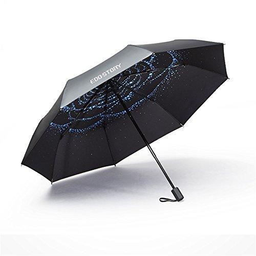 Stylish Anti-UV Ultra Light Color Printed Personality Blue Sunshade Umbrellas Folding Travel Portable Umbrella Creative Gifts,A/Five-Folded